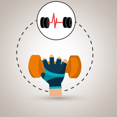 hand glove sport gym vector illustration graphic