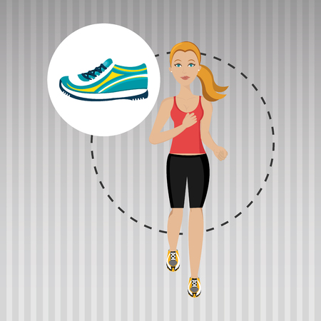 woman run: woman run sport health vector illustration graphic