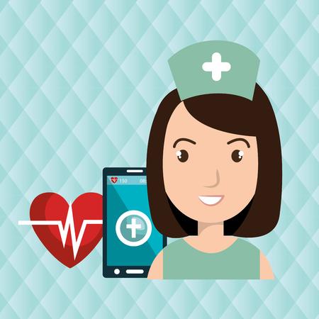 cardio: nurse smartphone cardio heart vector illustration graphic
