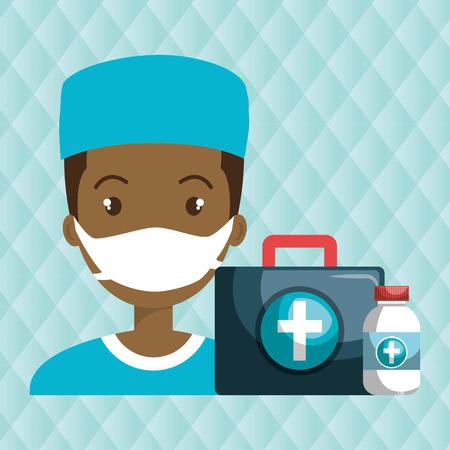 revive: nurse man first aid medicine vector illustration graphic