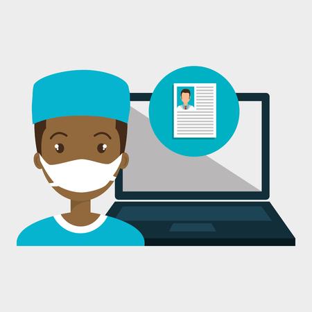 man with laptop: man nurse laptop health vector illustration graphic