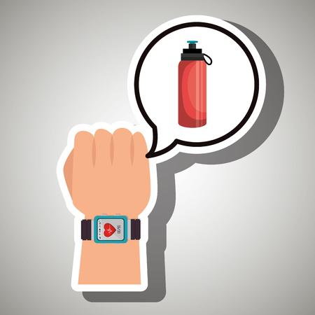 cardio: hand sport cardio smartwatch vector illustration eps 10