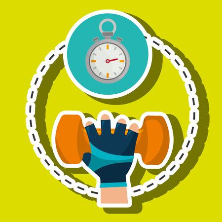 hand glove sport gym vector illustration graphic