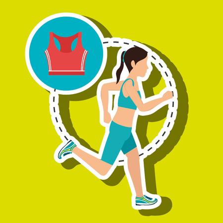 jogging in nature: woman run sport health vector illustration graphic