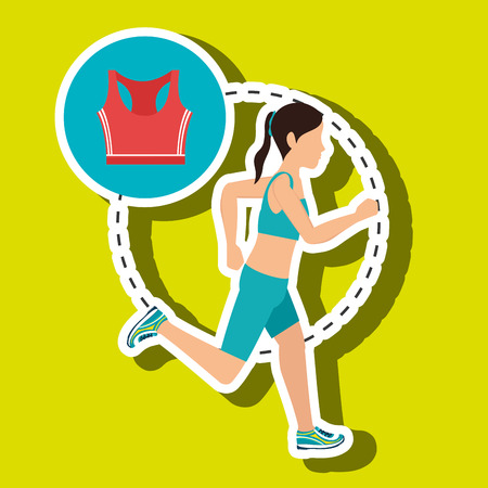 women working out: woman run sport health vector illustration graphic