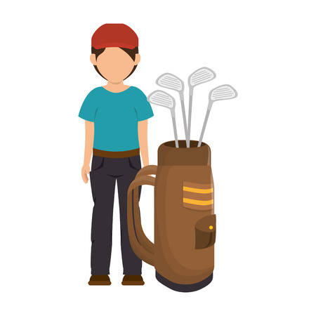 game equipment: golf player man stick clothes hat  sport game equipment vector illustration Illustration