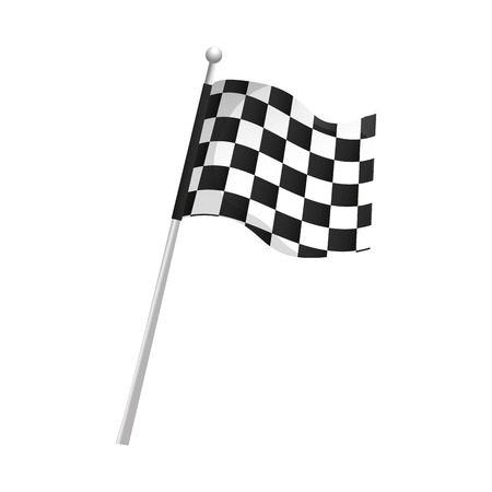 flag checkered waving pole race finish  competition vector illustration