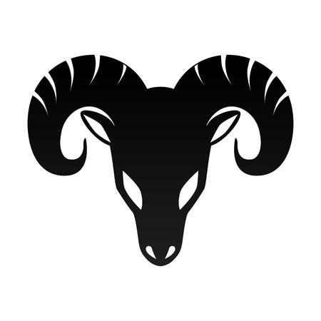 ram horn animal aries zodiac sign silhouette vector illustration Illusztráció