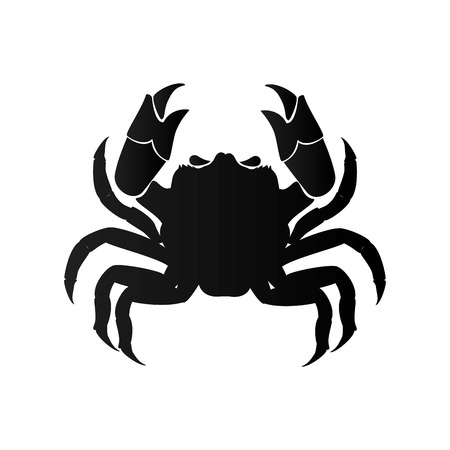 cancer crab: crab animal zodiac cancer sign sea food silhouette vector illustration