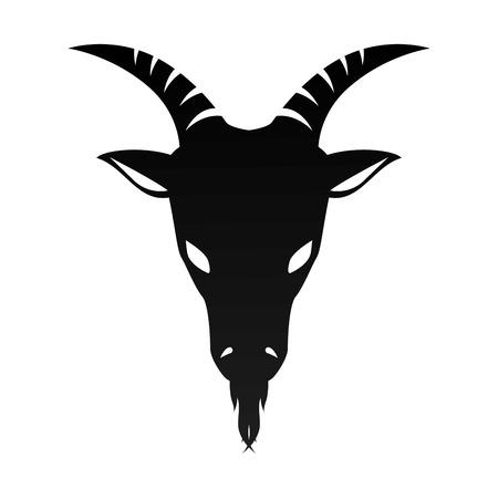 ram horn: ram goat horn capricorn zodiac sign silhouette vector illustration Illustration
