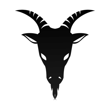 ram goat horn capricorn zodiac sign silhouette vector illustration Illustration
