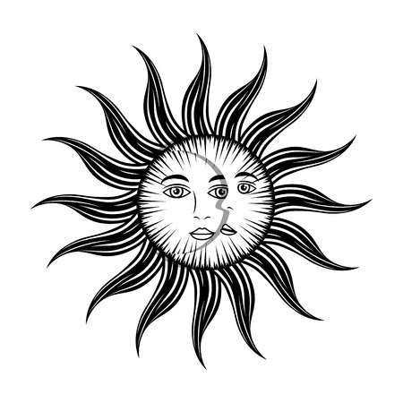mystic: sun moon face mystic astrology mythological symbol vector illustration