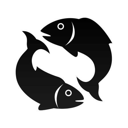 piscis pescados de mar animales signo del zodiaco ilustración de la silueta del vector Ilustración de vector