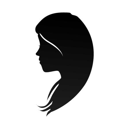 cabeza de mujer: perfil pelo de la cabeza mujer mujer niña silueta ocasional ilustración vectorial
