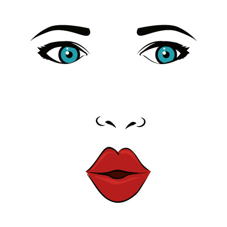 wink: girl woman face mouth lips blue eyes wink pop art vector illustration