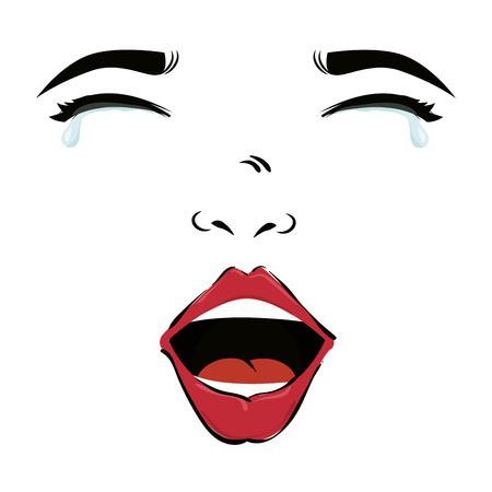 ojos llorando: Cara de la mujer de la muchacha de la boca los labios ojos azules que lloran gota ilustraci�n del arte pop del vector