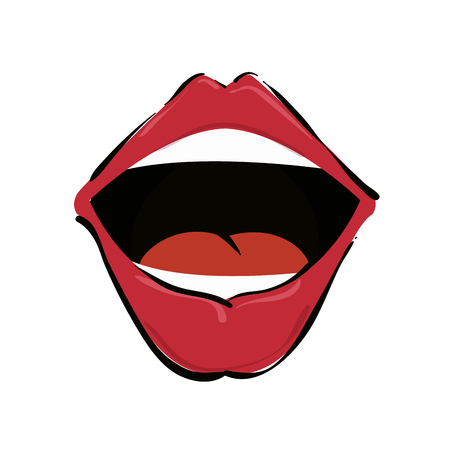 sensuality: mouth red lips cartoon sensuality expression vector illustration