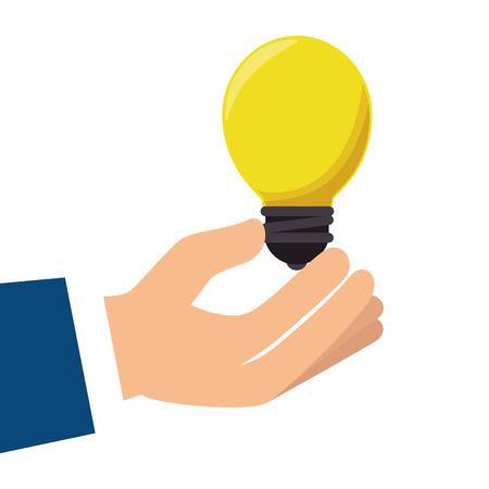 bombillo ahorrador: hand bulb light bright power energy electricity vector illustration Vectores