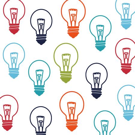 bombillo ahorrador: bulb light electricity object  background colorful pattern vector illustration