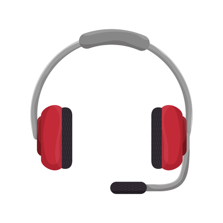 microphone headset: headphones microphone headset support operator technology object vector illustration