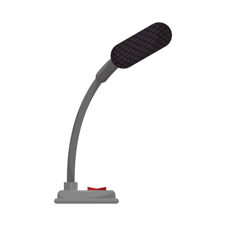 mike: small microphone mic audio mike sound button technology communication vector illustration