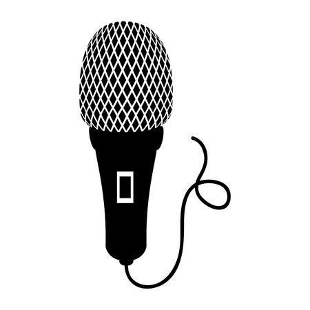 mike: microphone cord mic button audio mike sound vector illustration
