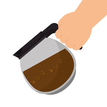 coffee pot: coffee pot hand glass jar drink beverage vector illustration Illustration