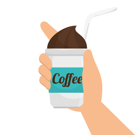 coffee mug hand cup drinking straw beverage plastic disposable. Vector illustration