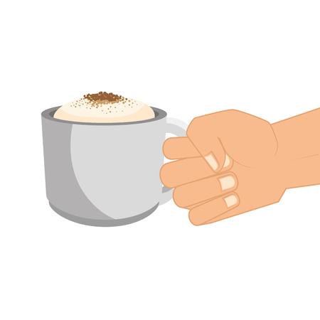caffeine: coffee mug cup drinking caffeine beverage vector illustration