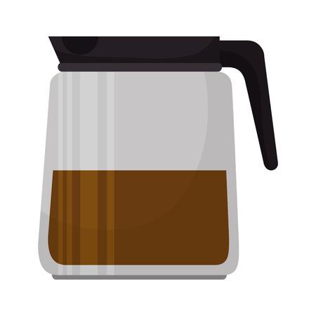 coffee pot: coffee pot glass jar drink beverage vector illustration