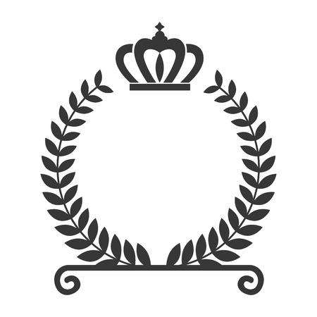 ローレルの葉の花輪王冠ボーダー フレーム装飾。ベクトル図