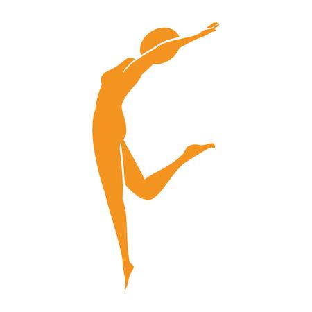 energy balance: yoga body female position exercise fitness silhouette vector illustration