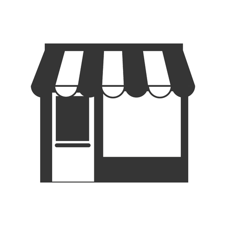 commercial little store building exterior view silhouette vector illustration Ilustração