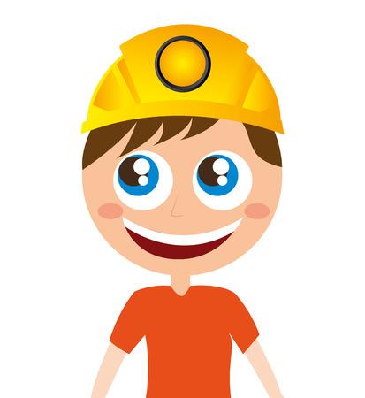 miner: miner comic character worker vector illustration design