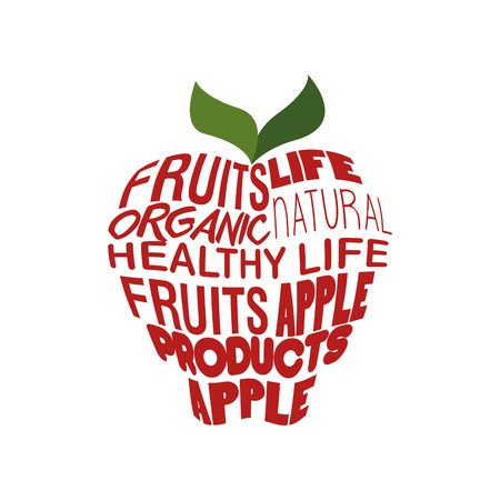 vitamine: red apple shaped words healthy lifestyle vector illustration