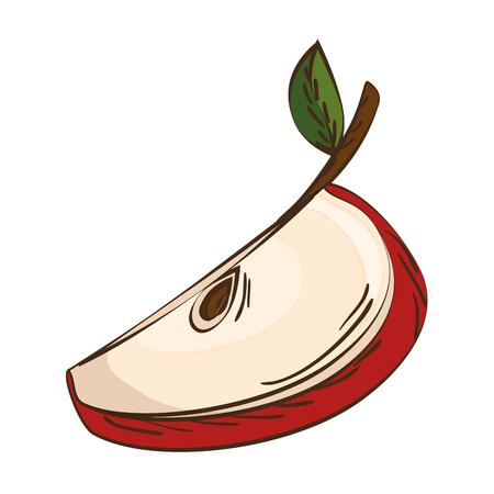 sliced fruit: red apple sliced fruit food agriculture healthy lifestyle vector illustration