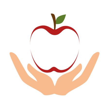 manos abiertas línea de manzana roja con forma de fruta agricultura estilo de vida saludable ilustración vectorial