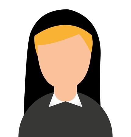 religious habit: nun woman character religion vector illustration design