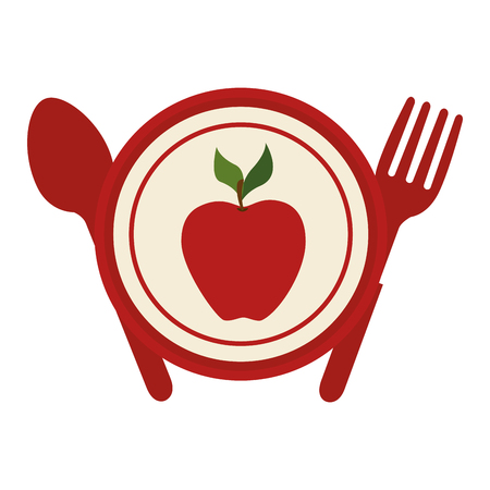 fruit plate: apple fruit plate with fork and knife healthy food vector illustration