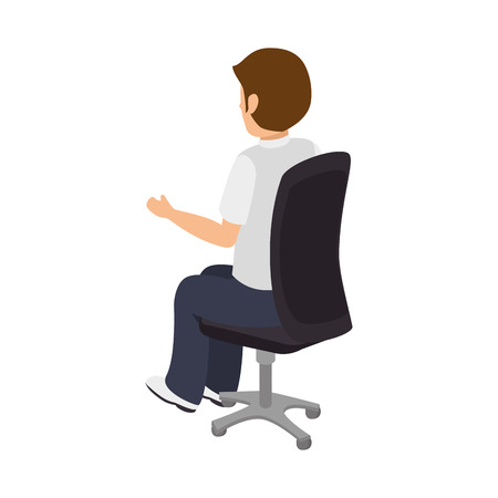 open arms: avatar businessman sitting on a chair wearing colorful clothes and open arms Illustration