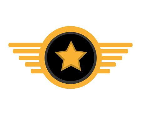 pilot plane emblem wings vector illustration design