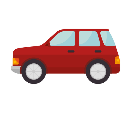 red car with black wheels transport vehicle vector illustration