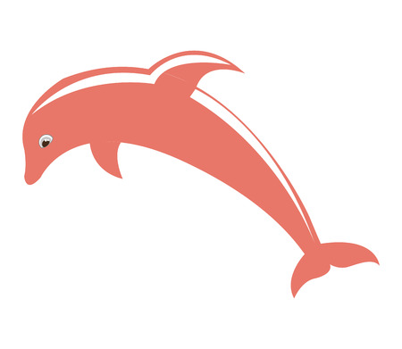 dolphin silhouette: dolphyn pink fish isolated vector illustration design Illustration