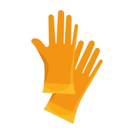 yellow gloves  work safety  industrial equipment vector illustration