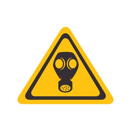 gas mask warning sign: gas toxic mask yellow warning sign vector illustration Illustration