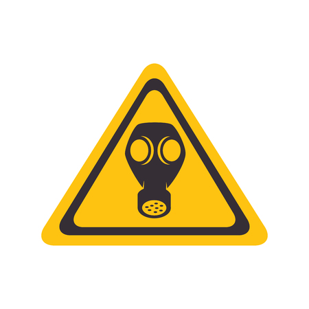 gas toxic mask yellow warning sign vector illustration Illustration