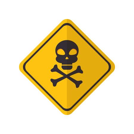 noxious: skull and bones danger yellow warning sign vector illustration Illustration