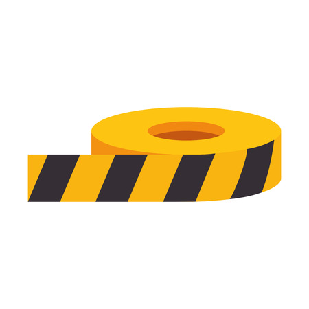 prudence: roll of yellow and black caution barrier tape vector illustration