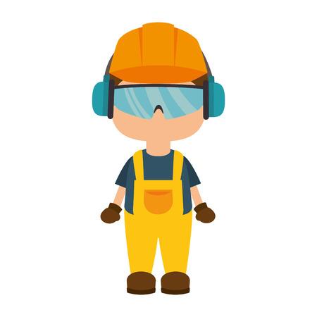アバター労働者は産業安全保護装置を身に着けています。ベクトル図