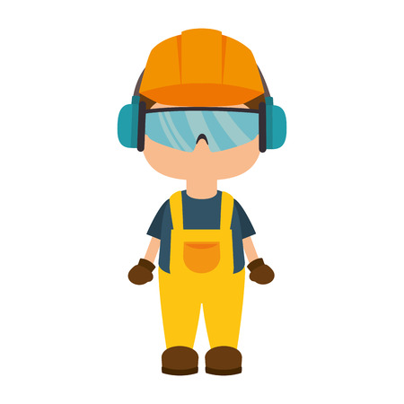 avatar worker wearing  industrial security protection equipment. vector illustration Stock Illustratie